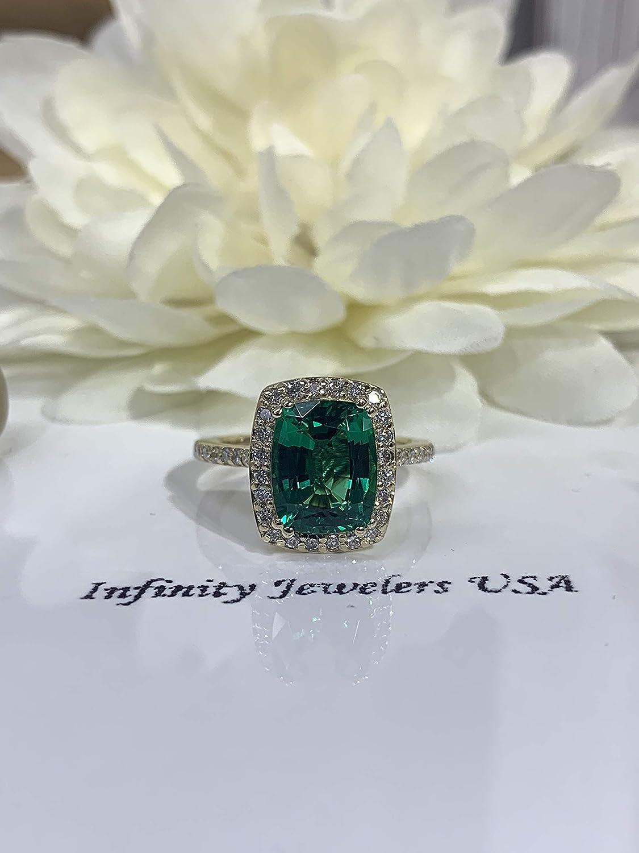 Amazon Com Elongated Cushion Cut Green Emerald Diamond Halo