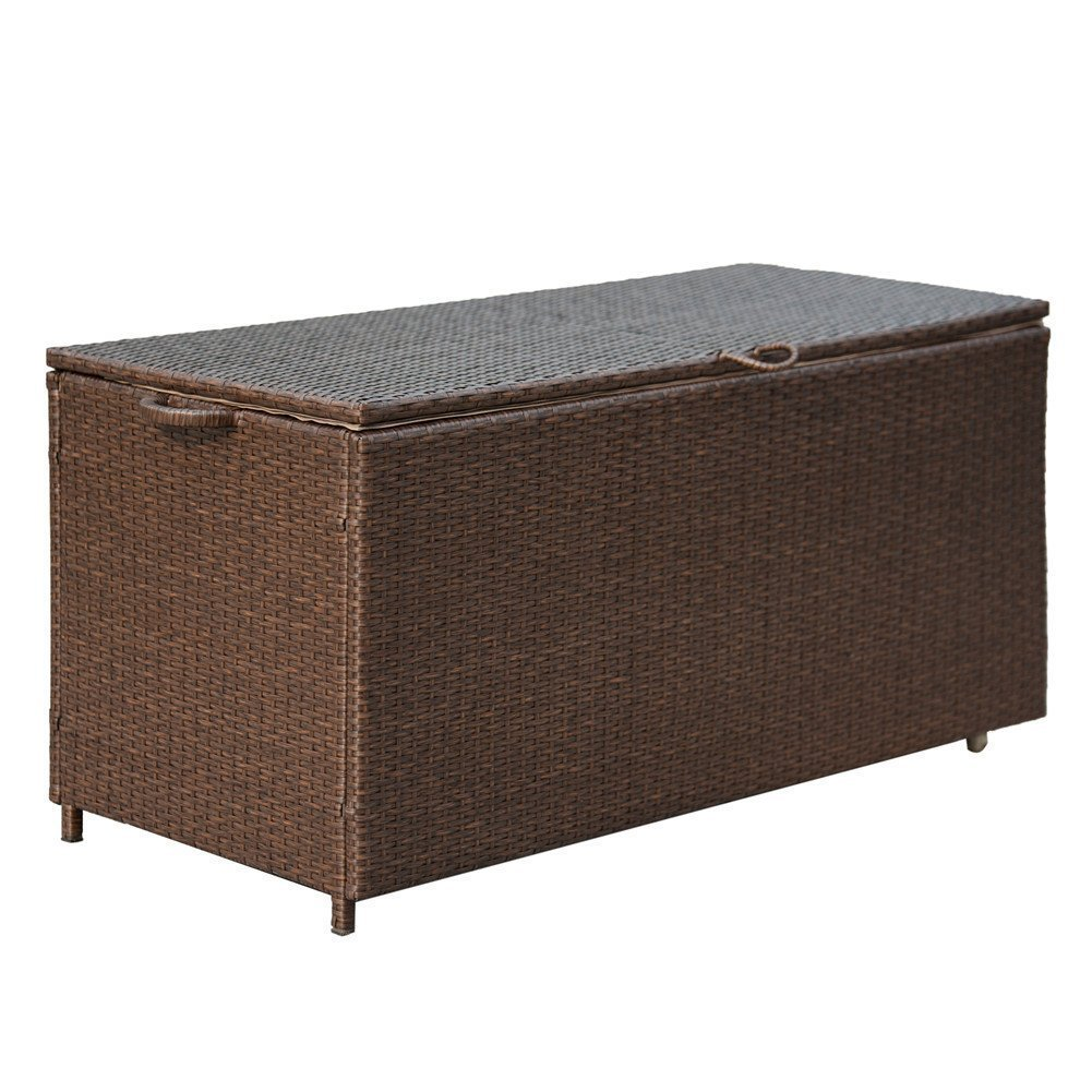 PatioPost Deck Storage Container Box& Garden Bench PE Wicker Outdoor Patio Garden Furniture 110 Gal, Brown CBX01