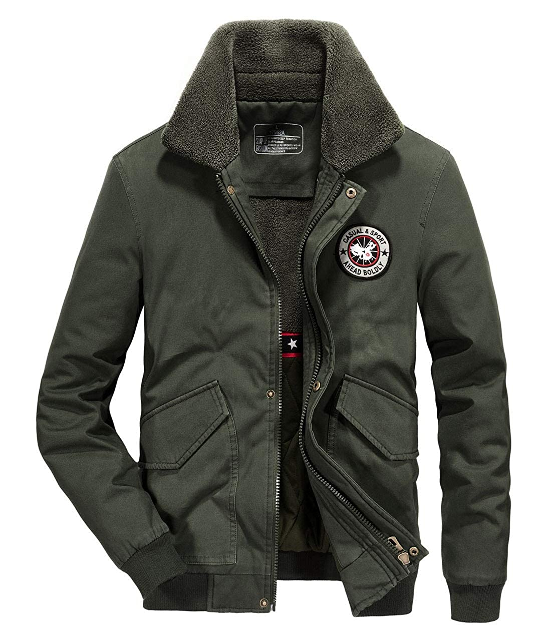 Itemnew Mens Military Badge Patched Fleece Collar Cargo Cotton Jacket Coat