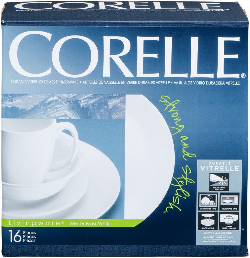 Corelle Livingware Piece Dinnerware Set, Winter Frost White, Service for 4, (20 Piece)