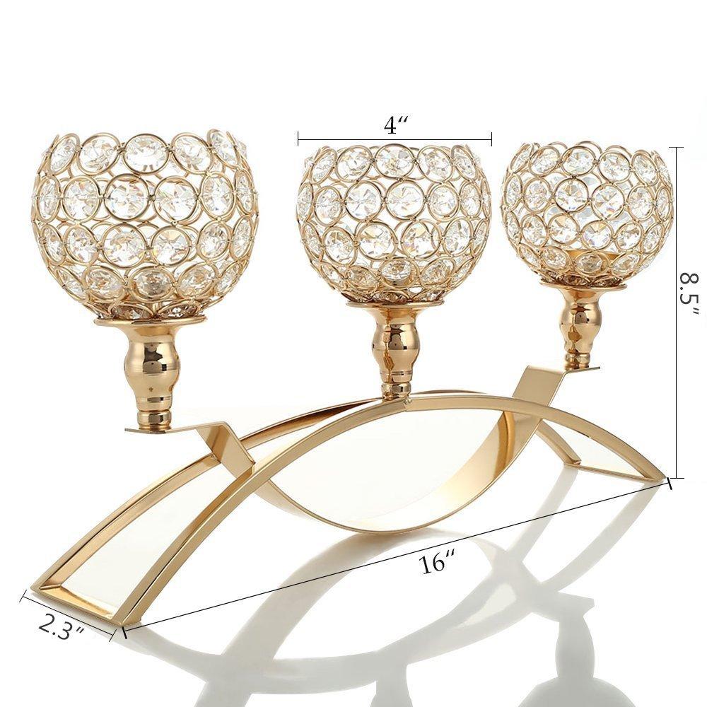 Vincigant Gold Crystal Candle Holderswedding Centerpieces