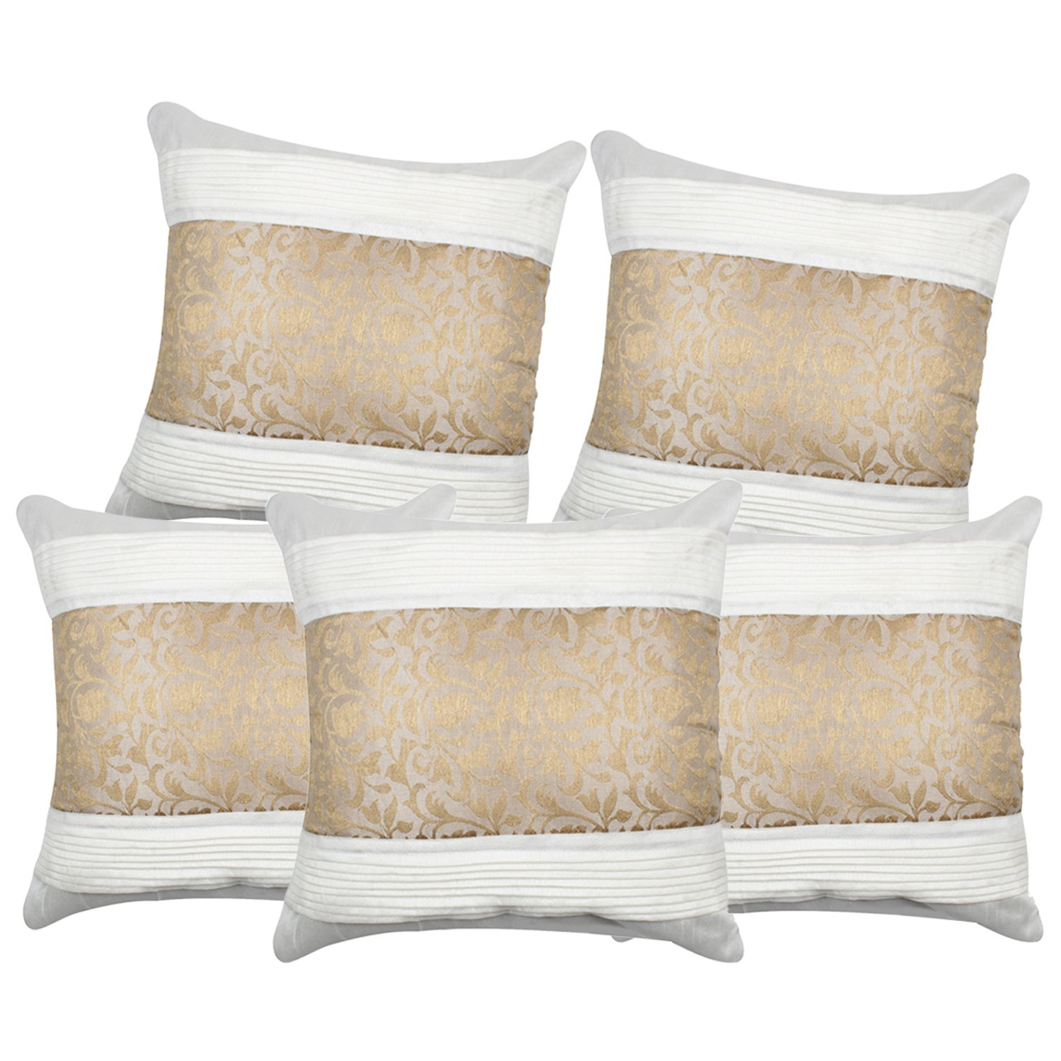 Buy S N TRADERS Cream or Off White Silk Cushion Covers 16x16 Set of 5  Brocade Abstract Striped Design Online at Low Prices in India - Amazon.in