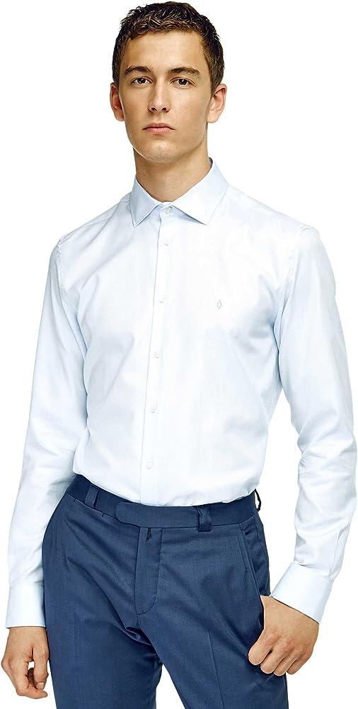 Caramelo, Camisa Slim Cuello Italiano, Hombre · Azul Claro, Talla 58: Amazon.es: Ropa y accesorios