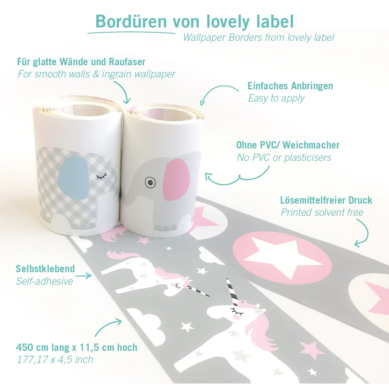 lovely label Bordüre selbstklebend ELEFANTEN GRAU/ROSA ...