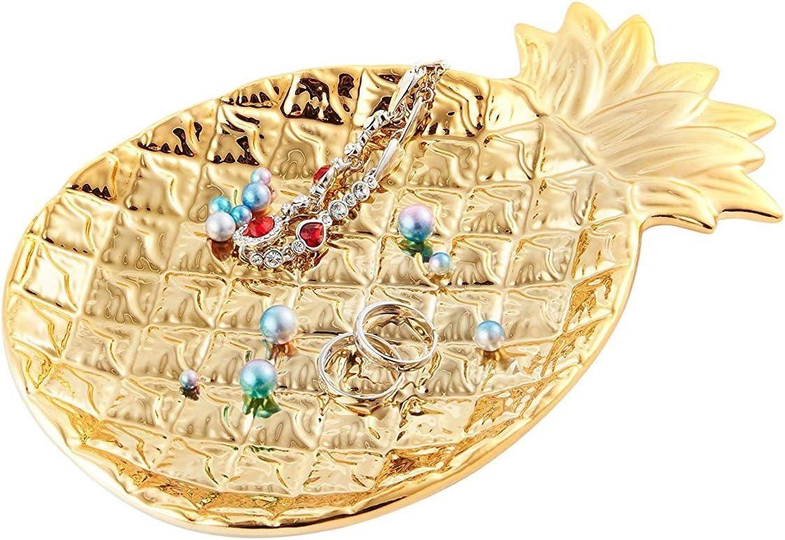Ceramic Plate Jewelry Tray Jewelry Holder Jewelry Display - Ring Dish - Organizer for Keys - Phone - Jewelry - Watch - Wallet -Trinket - Best Wedding/Birthday - Golden Pineapple