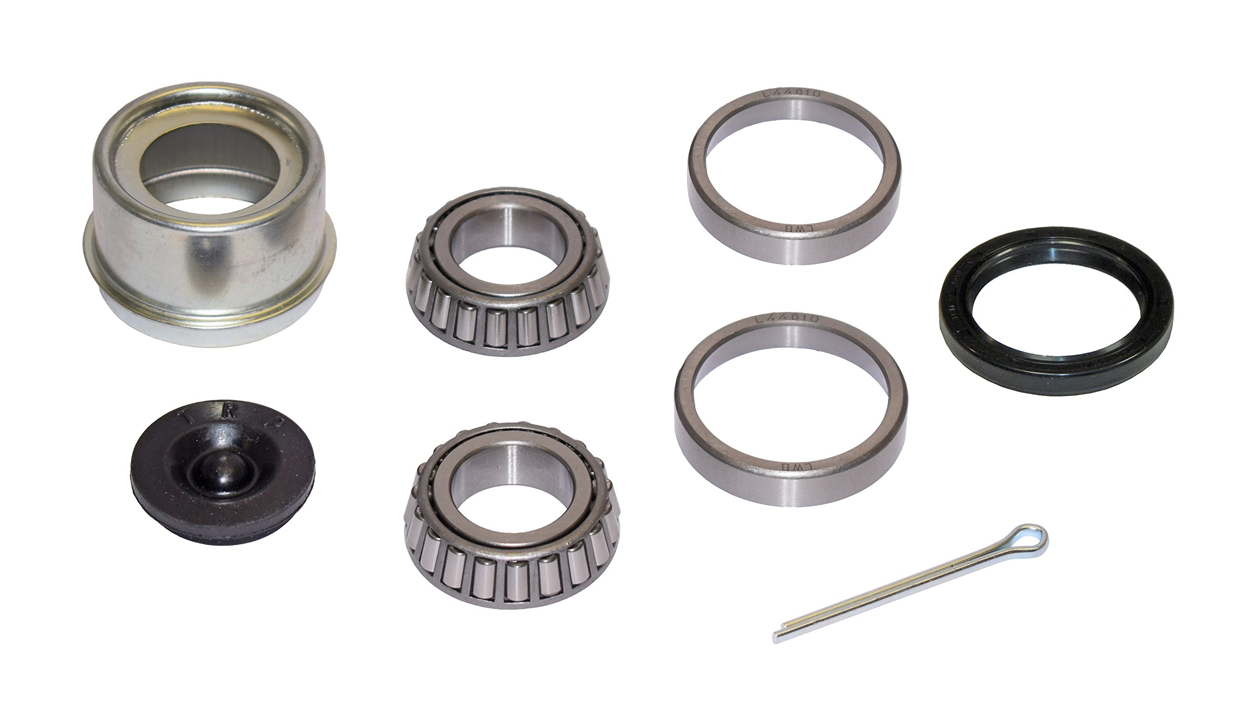 Rigid Hitch Trailer Bearing Repair Kit (280454-EZ) For 1-1/16 Inch Straight Spindle - Includes E-Z Lube Cap With Plug