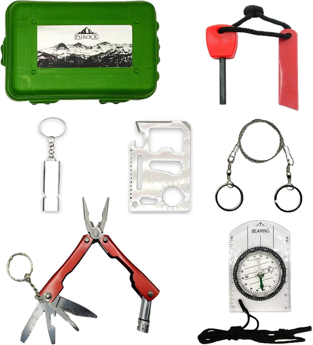 Kit supervivencia montaña Kit de supervivencia profesional | Navaja multiusos Pedernal Supervivencia accesorios acampada y vivac | Ferrocerio supervivencia de emergencia | Mini Survival kit Bushcraft