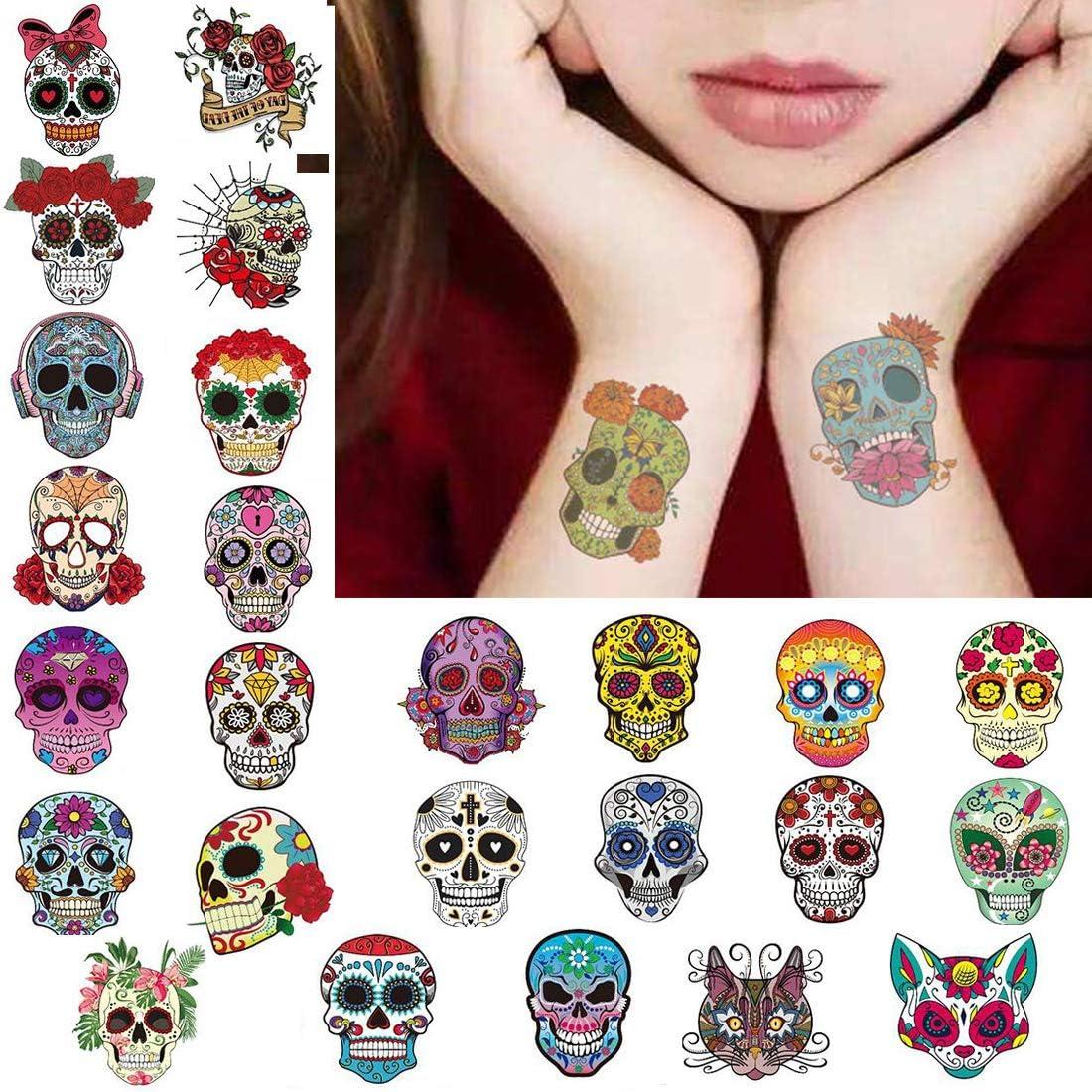 Tatuajes de Halloween Tatuajes temporales Día de los muertos ...