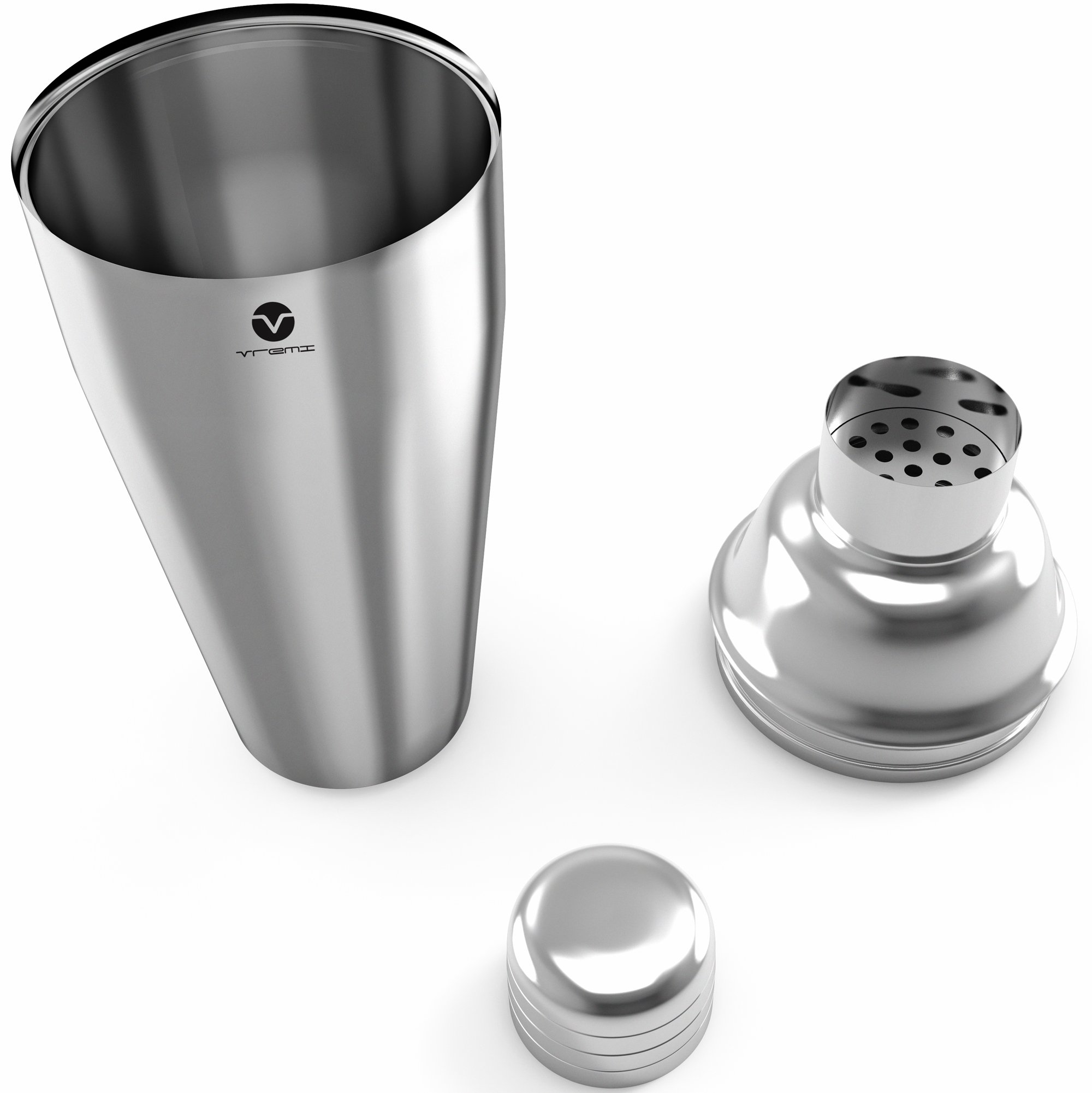 Vremi Stainless Steel Cocktail Shaker Set - 5 Piece Bartender Kit with Martini Shaker Strainer Jigger Shot Glass Stirring Spoon - Bartending Supplies Bar Tools Barware and Bartender Gifts Set - Silver by Vremi (Image #2)