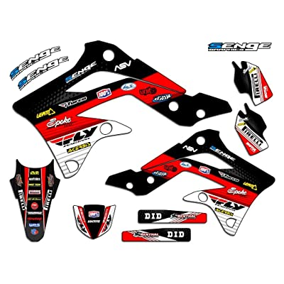 Senge Graphics 2002-2009 Kawasaki KLX 110, Ricochet Black Graphics Kit