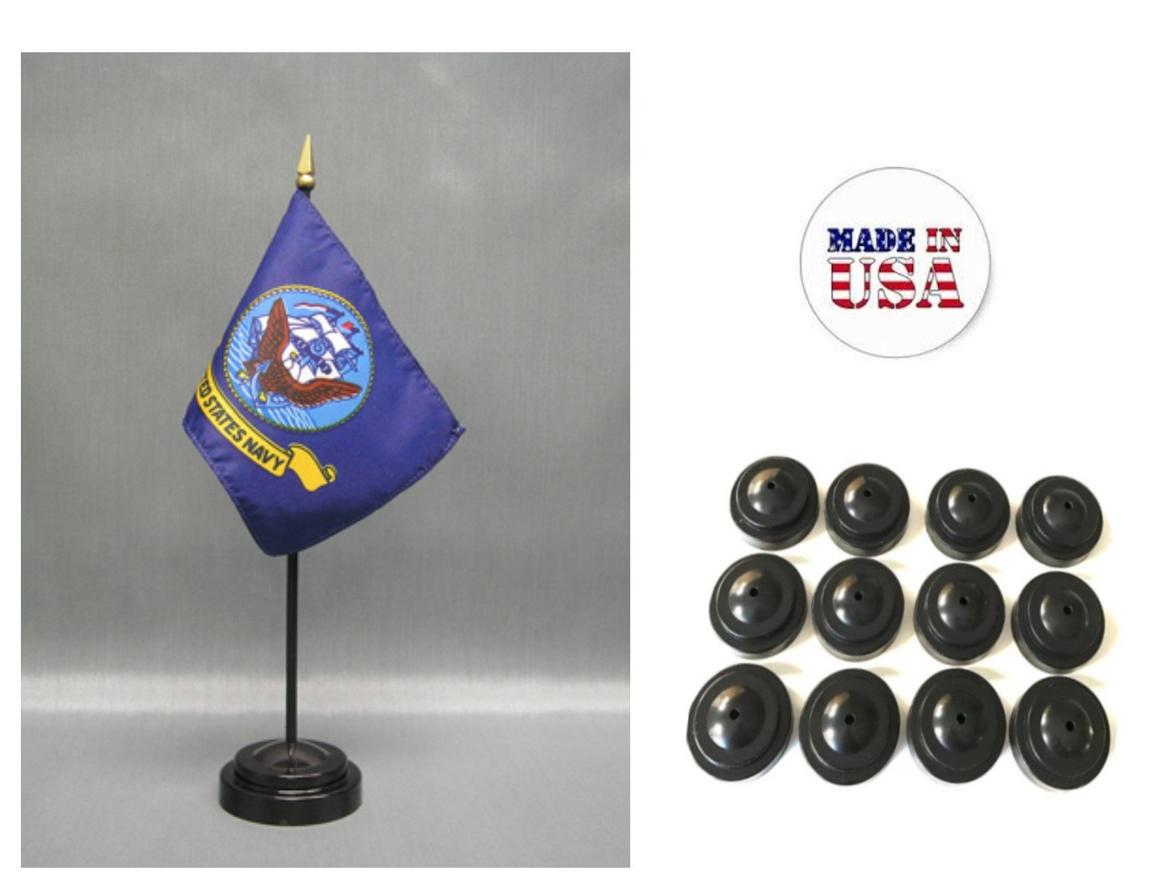 MADE IN USA!! Box of 12 United States Navy 4''x6'' Miniature Desk & Table Flags Includes 12 Flag Stands & 12 American Made Small Mini Naval Stick Flags