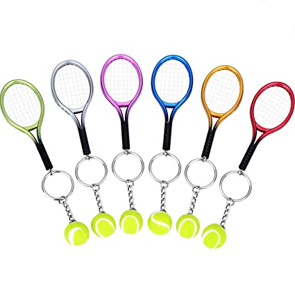 BBTO 6 Pieces Tennis Racket Keychain Key Rings Metal Tennis Ball Split Ring, 6 Colors