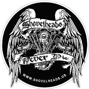 """USA CUSTOM DIGITAL PRINTING Shovelheads Never Die 5"""" Contour Cut Sticker"""