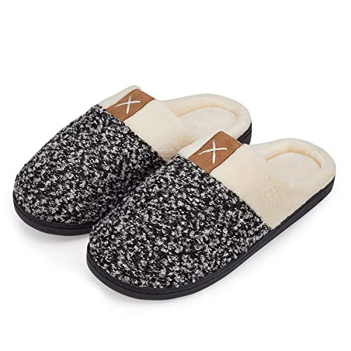 c99e60adc1f welltree Men's Cotton Slippers House Shoes Memory Foam Lining Indoor  Anti-Slip Comfort Knitted Cozy Plush