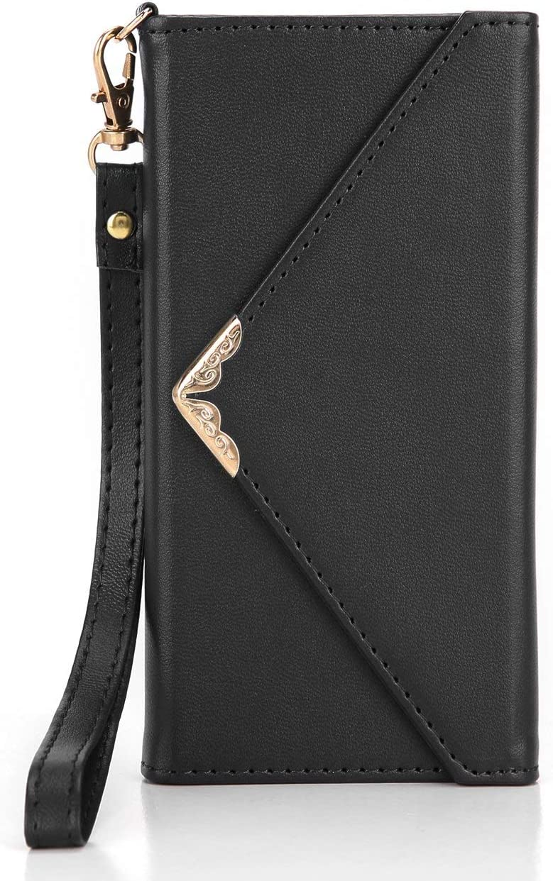 Crosspace Compatible with iPhone x/xs Wallet Case for Women with Card Holder,Envelope Flip Handbag Shell PU Leather Slim Holster Folio Cover with Wrist Strap for iPhone x/xs 5.8 inch-Black
