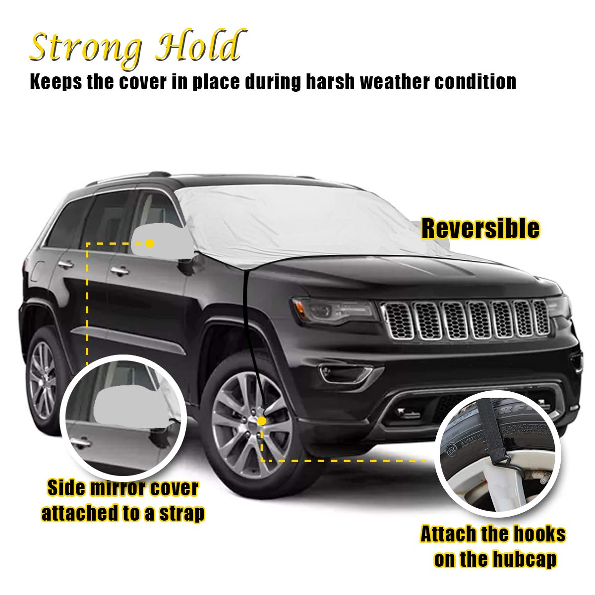 Reversible Exterior All Weather Frost Guard-Waterproof Clean Cover No Scraping VaygWay Car Snow Ice Cover Windshield Frost Ice Snow Protector