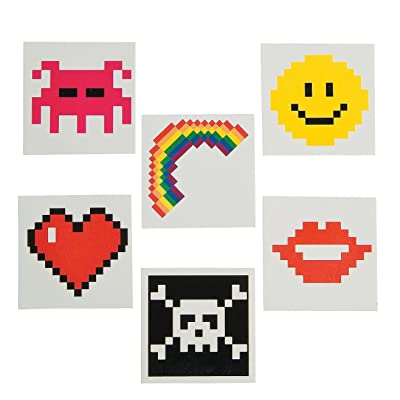Pixel Character Temporary Tattoos (72 Pack) Safe and Non-Toxic.: Health & Personal Care