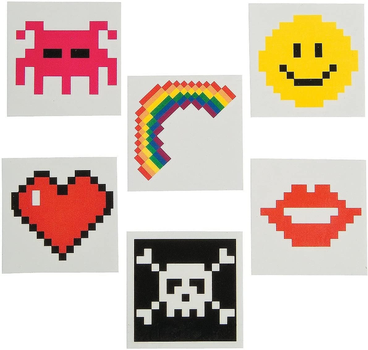Pixel Character Temporary Tattoos (72 Pack) Safe and Non-Toxic.