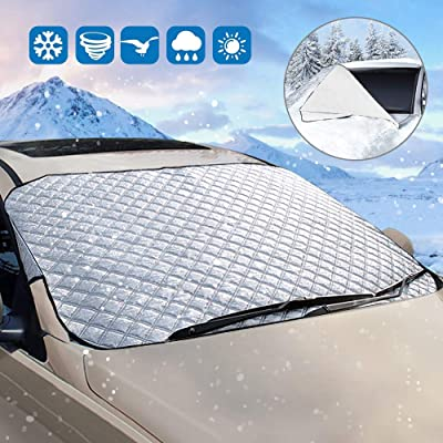opamoo Car Windshield Snow Cover Sun Shade Protector for All Weather - Snow Ice Frost Sun and Wind Car Snow Cover with Cotton Thicker Snow Protection Cover Fits Most Cars: Sports & Outdoors