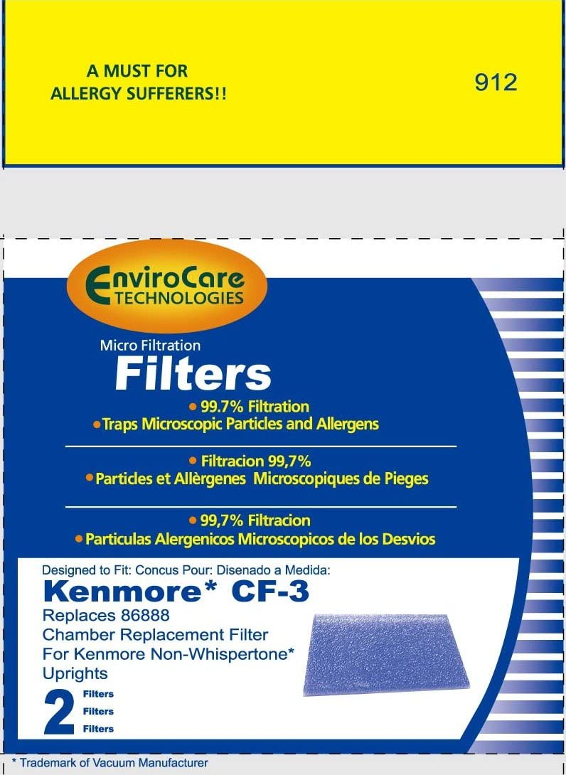 EnviroCare Chamber Replacement Vacuum Filters for Kenmore CF-3 Non-Whispertone Uprights 2 Pack
