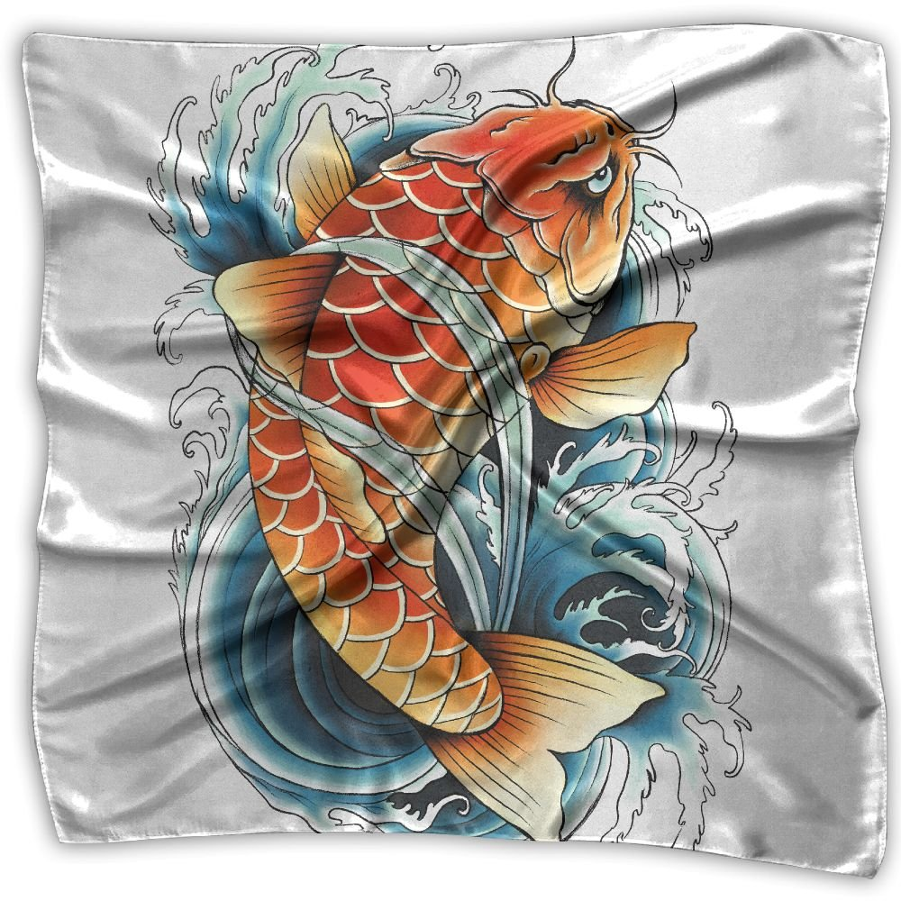 Asian Carp Painting Fashion Women Floral Printed Lady Square Scarf Head Wrap Kerchief Neck Satin Shawl