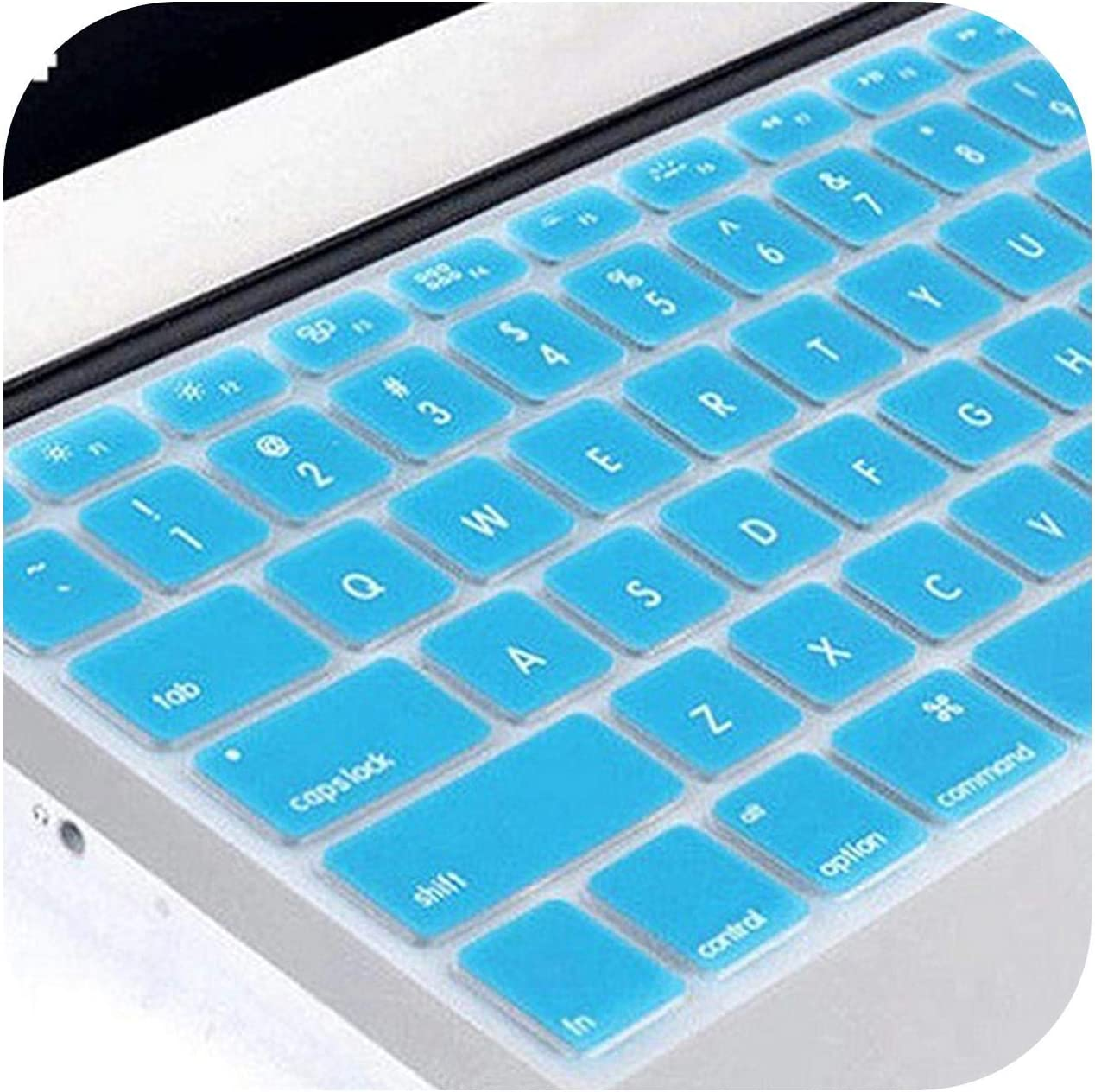 Silicone Keyboard Skin Protector Film Case Cover for MacBook Laptop Notebook-Light Blue
