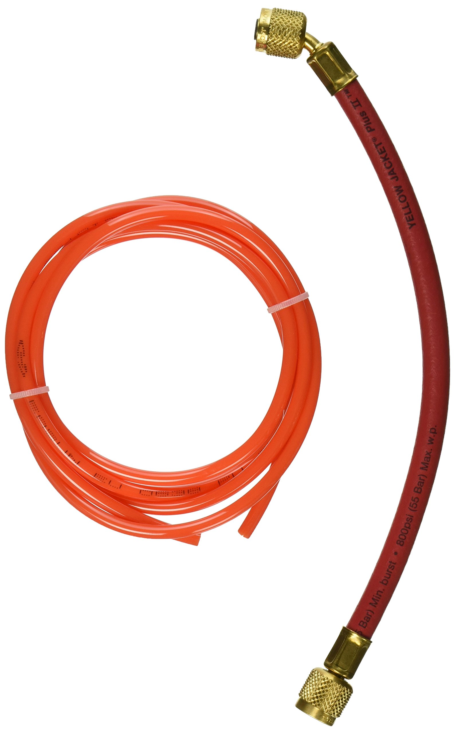 Yellow Jacket 21612 Plus II Hose Standard 1/4'' Flare Fittings, 12'', Red
