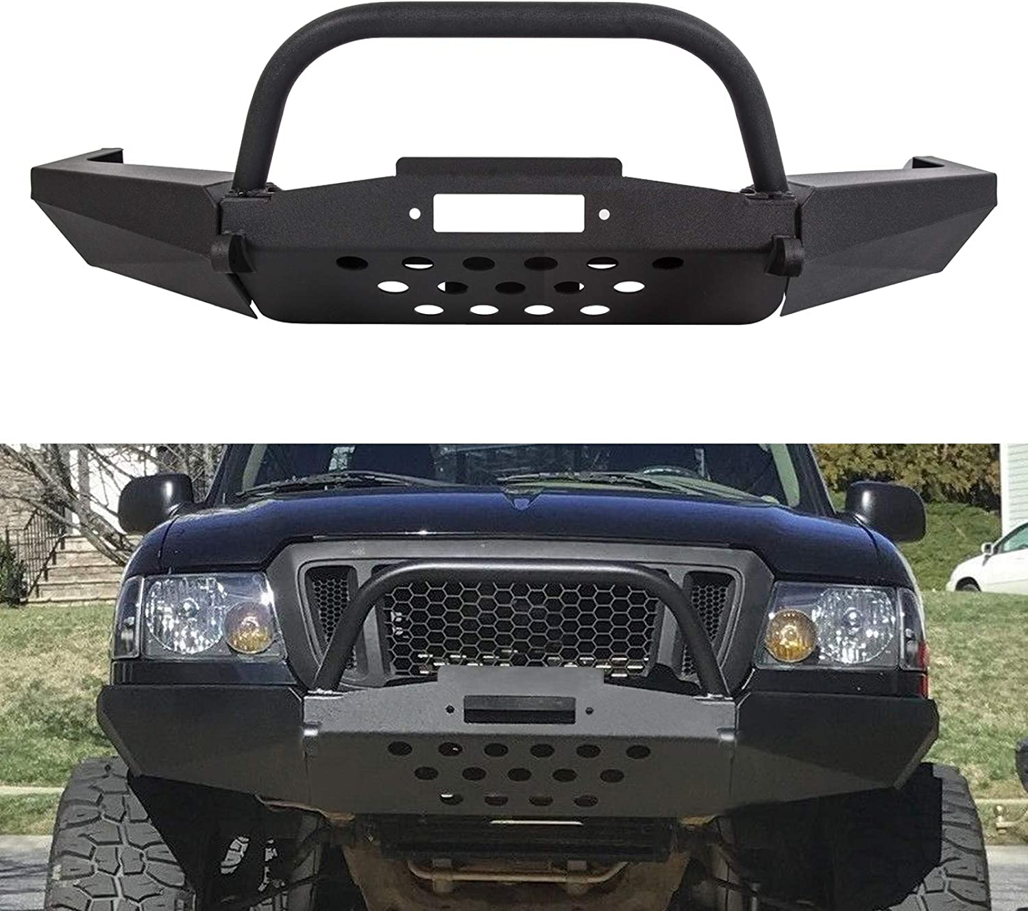 Front Modular Winch Bumper W//Bull Bar For Ford Ranger 1998-2011