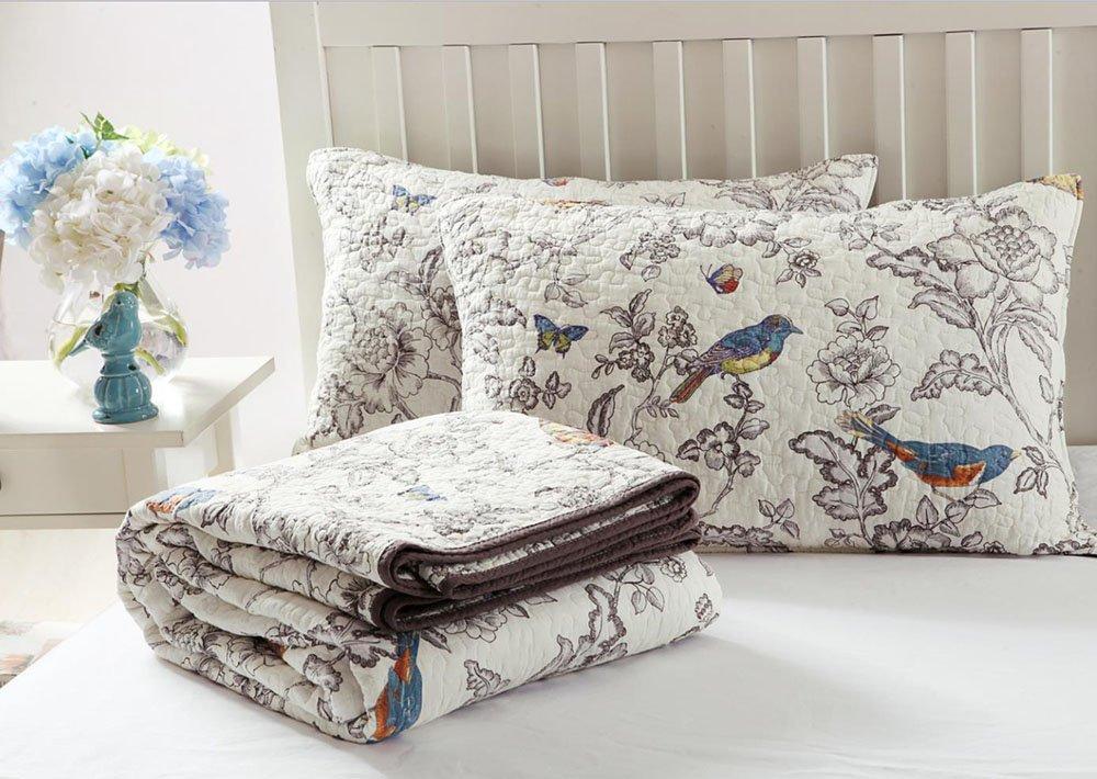 Vintage Floral Quilt Set King Cotton Bedspread Set Beige Brown Reversible Quilt Coverlet Set Luxury Birds Flower Butterfly Printed Quilt Set, Soft and Warm Autumn Winter Quilt Comforter Set by AMWAN (Image #6)
