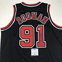 $94 » Autographed/Signed Dennis Rodman Chicago Black Basketball Jersey Beckett BAS COA