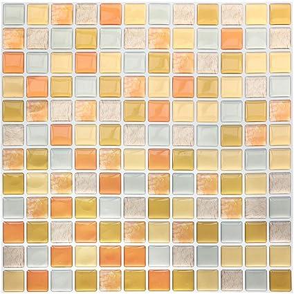Yoillione 3D Fliesenaufkleber Mosaik Bad Fliesenfolie Küche Selbstklebende  3D Mosaik Fliesen Sticker Orange, Wasserdicht Fliesensticker Aufkleber ...
