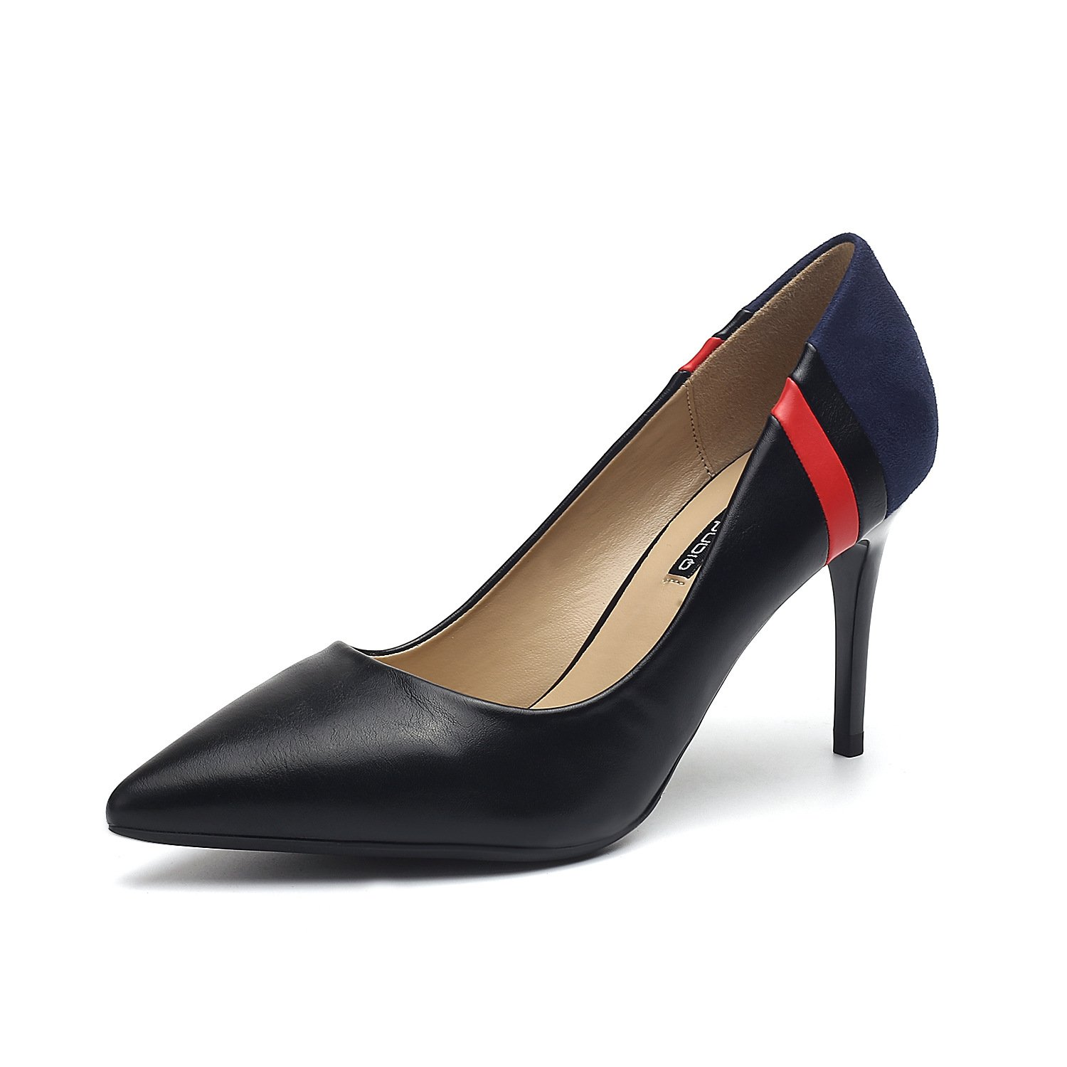Women's singles shoes tip light is fine with stylish stitching color elegant high-heeled shoes, Black,35