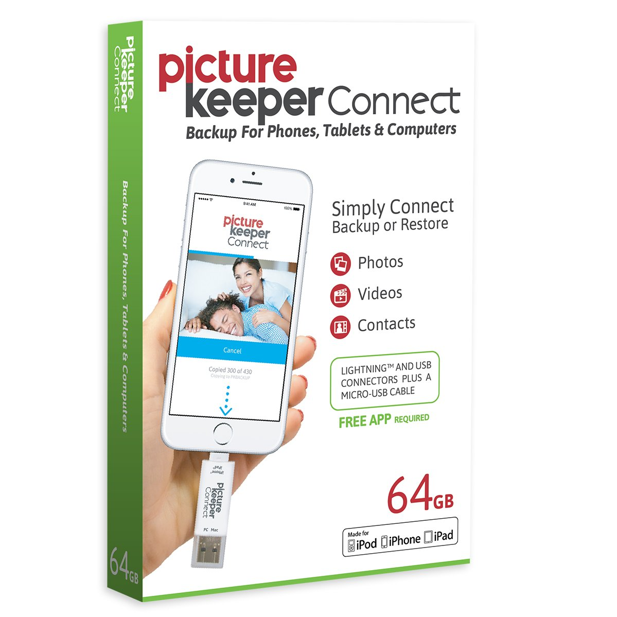Picture Keeper CONNECT 64GB Portable Flash USB Backup and Storage Device Drive for Mobile Phones Tablets and Computers by Picture Keeper