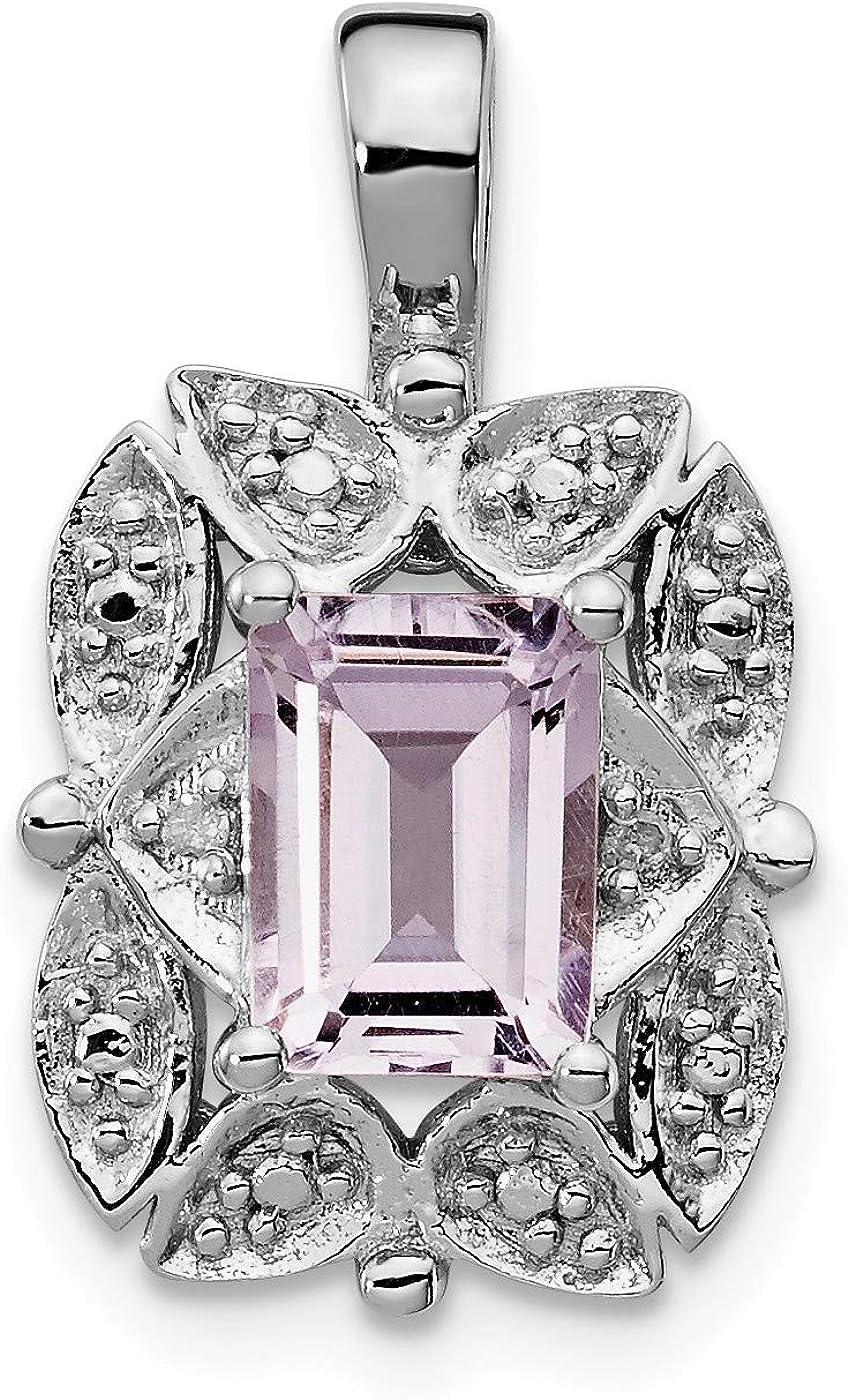 Color H-I, Clarity SI2-I1 Sterling Silver Diamond /& Rose de France Pink Quartz Ring