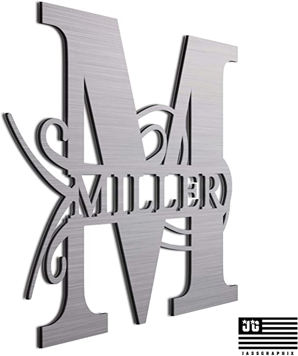 "JASS GRAPHIX Personalized 12"" Brushed Aluminum Miller Monogrammed Sign Door Wall Decor"