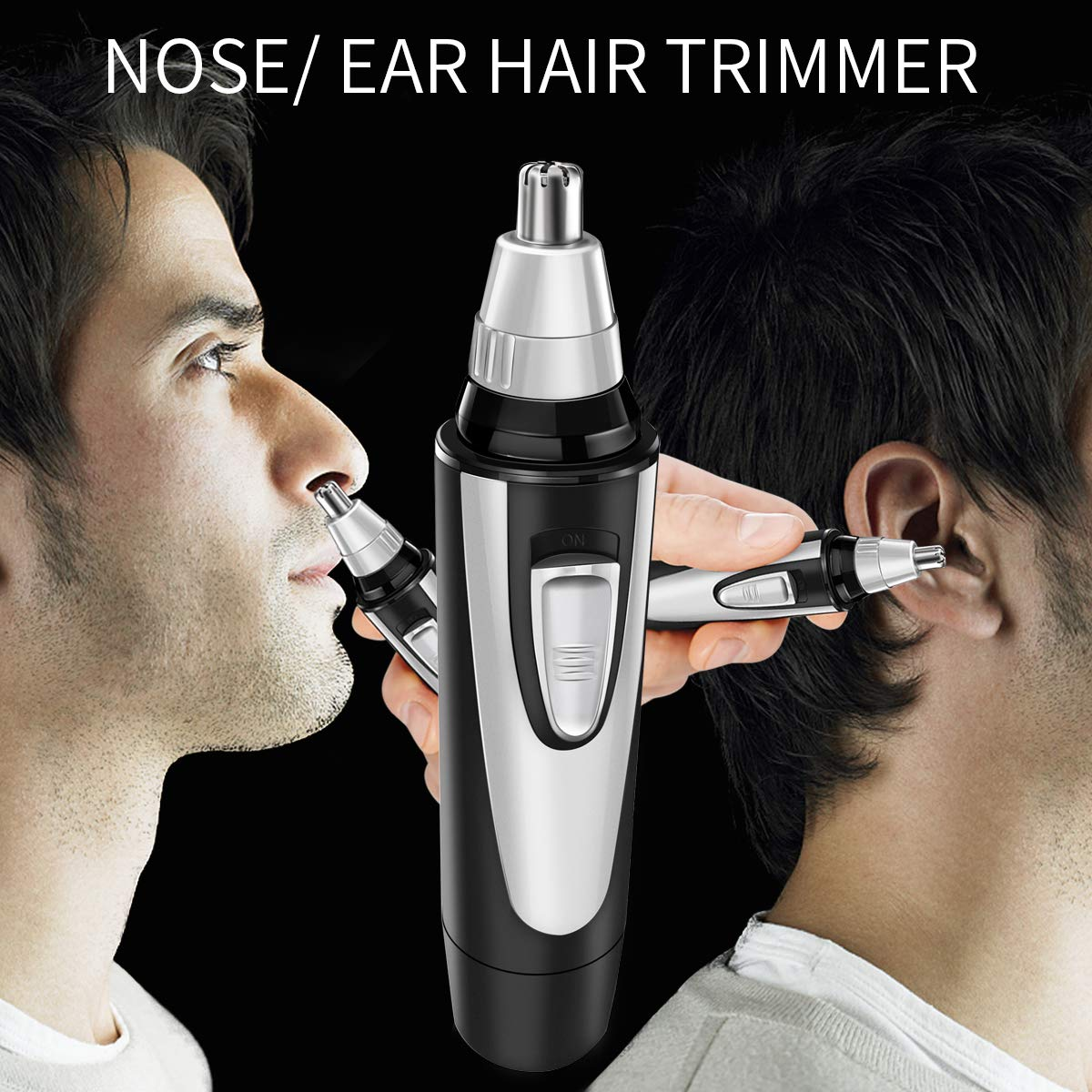 Nose Ear Hair Trimmer for Men Women, Electric Nostril Nasal Hair Clippers Trimmers Remover, Vacuum Cleaning System, IPX7 Waterproof, Mute Motor, Wet/Dry, Battery-Operated