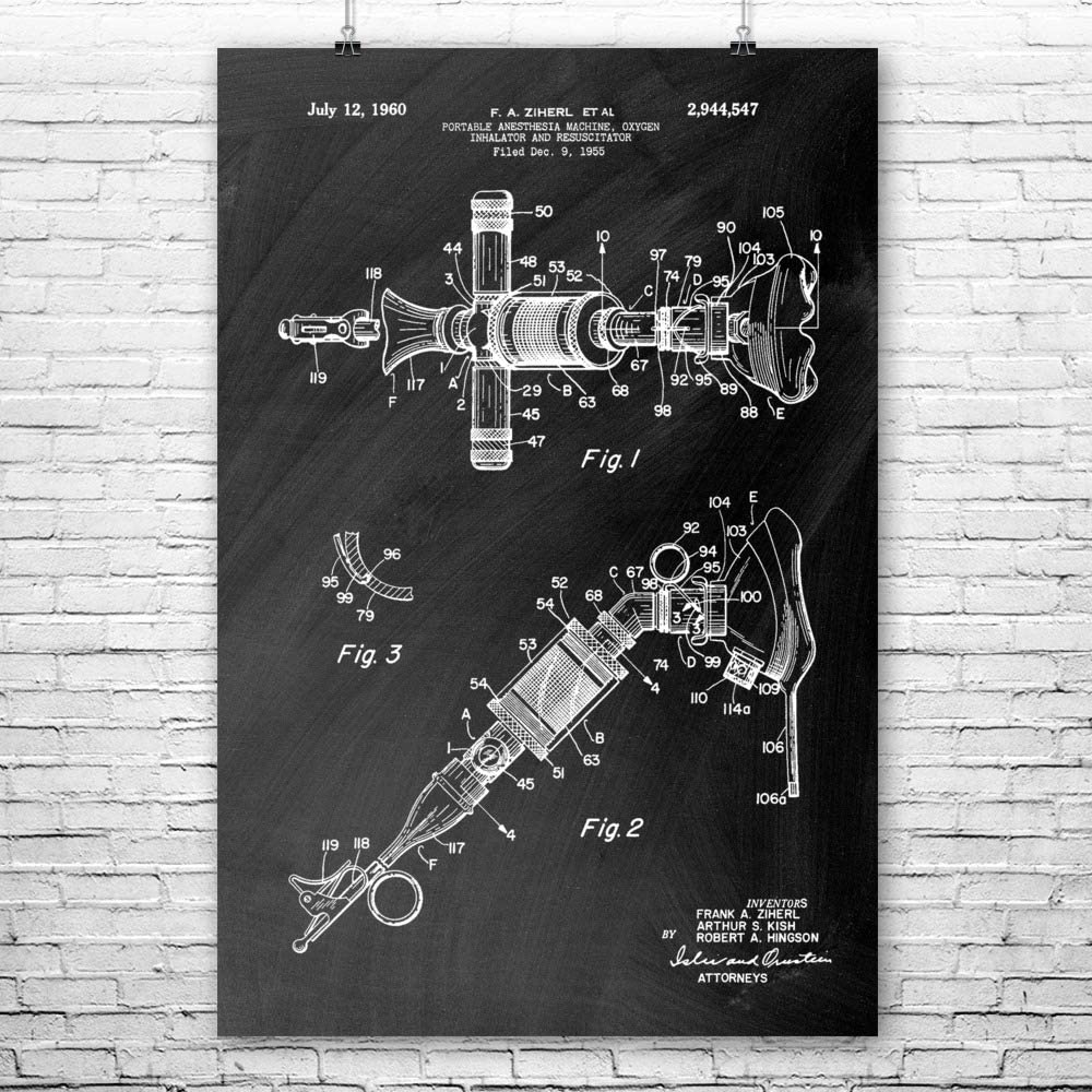 Patent Earth Anesthesia Oxygen Inhalator Poster Print, Physician Gift, Doctors Office Art, Dentist Gift, Medical Art Print (18 inch x 24 inch)