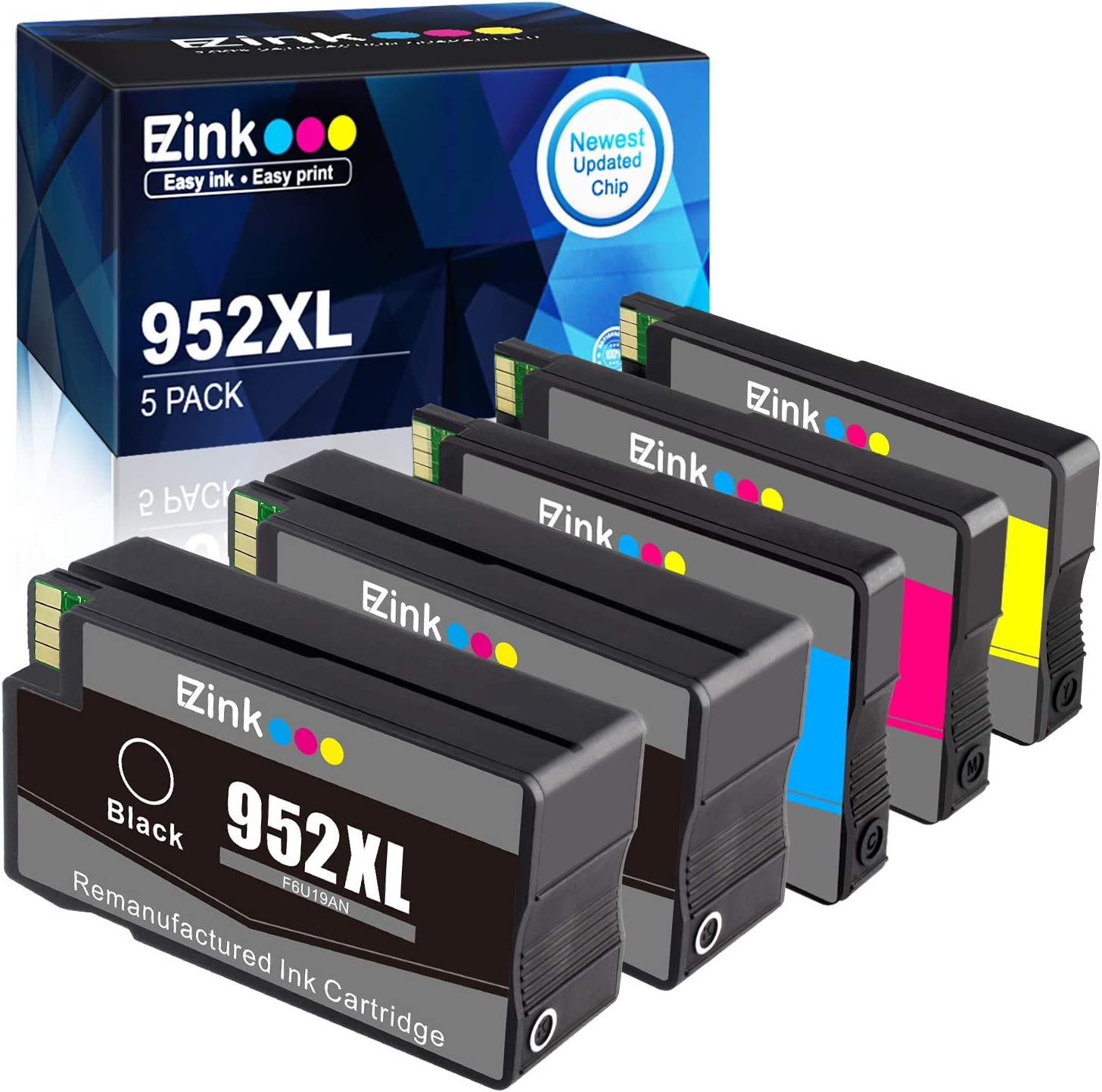 E-Z Ink (TM) Remanufactured Ink Cartridge Replacement for HP 952 XL 952XL 952 (2 Black, 1 Cyan, 1 Magenta, 1 Yellow, 5 Pack)