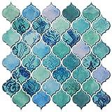 HUE DECORATION Turquoise Arabesque Peel and Stick Backsplash for Kitchen, Decorative Self Adhesive Vinyl Wall Tiles Backsplas