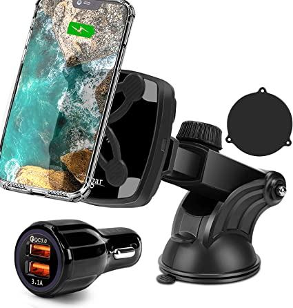 Wireless Charging Compatible for Phone 11//11 Pro//11 Max//Xs//XS Max Samsung Galaxy S10// S10 Plus//S9//S9 10W//7.5W QI Car Charging Mount,Cegar Magnetic Wireless Car Charger,Air Vent Phone Holder