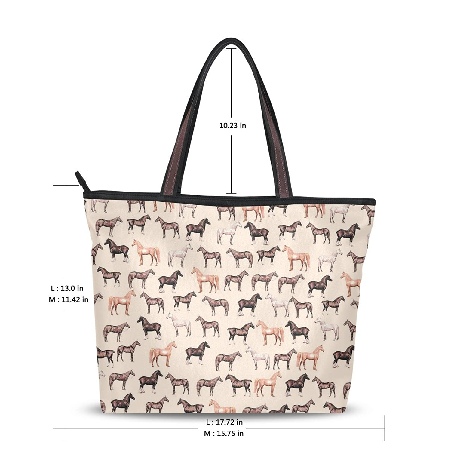 2016 Women's New Fashion Handbag Shoulder Bags,Cool Horses Pattern,Tote Bag