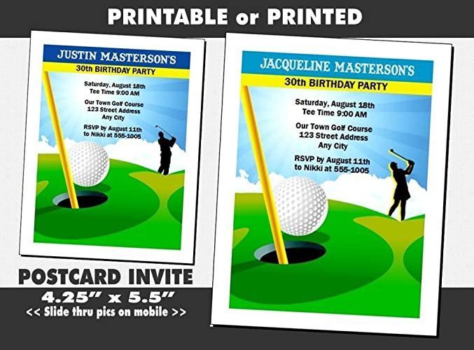 Amazon golf birthday party invitation male or female golf birthday party invitation male or female printable or printed option filmwisefo