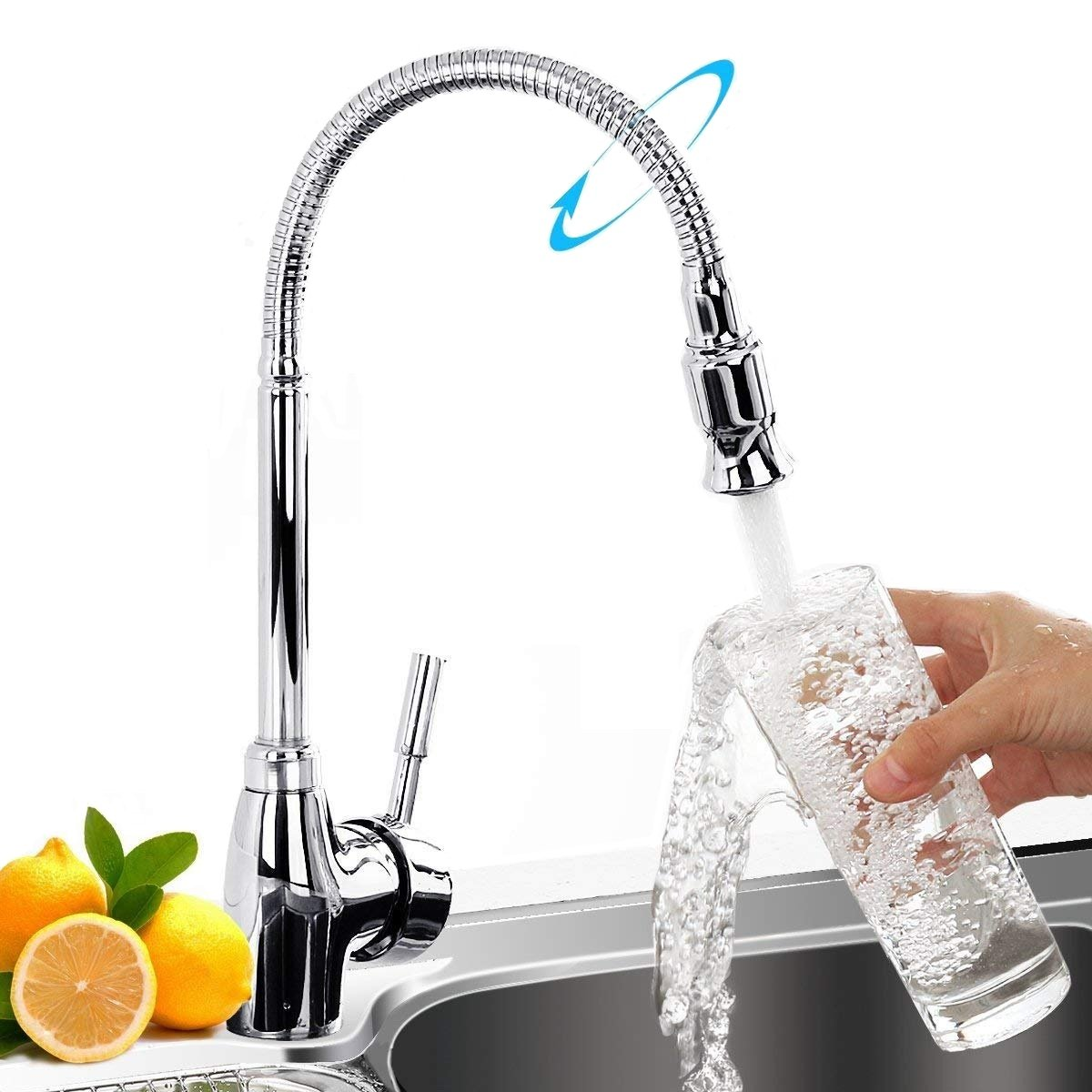 Kitchen Faucet, Baban Single Handle Kitchen Tap 360 Degree Swivel Modern Stainless Steel Sink Faucet with 720° Universal Goose Neck, Hot and Cold Mixer Faucet Bar Sink Faucet Chrome Plated