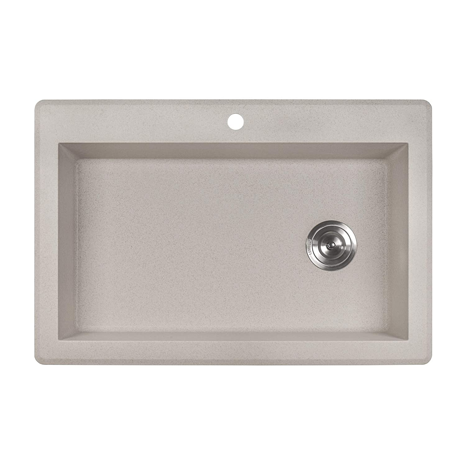 Ruvati 33 x 22 inch Dual-Mount Granite Composite Single Bowl Kitchen Sink -  Caribbean Sand - RVG1033CS