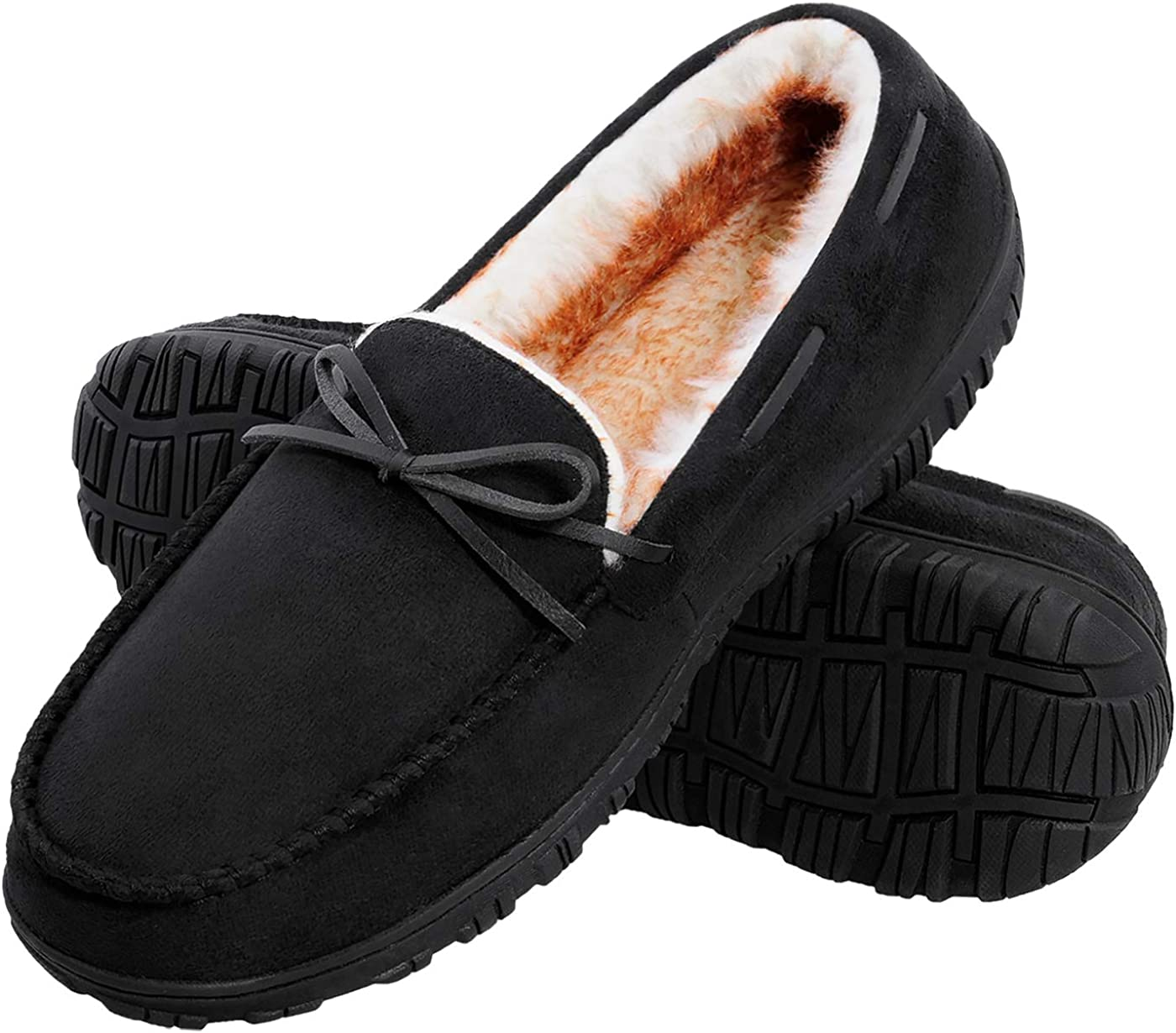 Harebell Men's Moccasin Slippers Plush Memory Foam House Slippers Indoor Outdoor Non-Skid Home Shoes