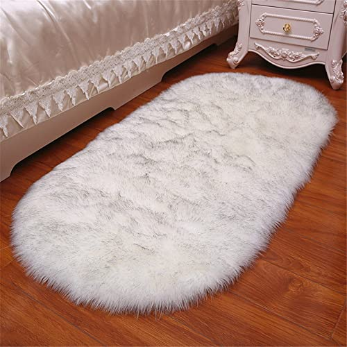 FOLWEP Quality Faux Sheepskin Rug Sofa Couch Stool Casper Vanity Chair Cover Seat Pad Plain Area Rugs Oval Living Bedroom Floor 5x7ft Livingroom Rug,White and Grey Top