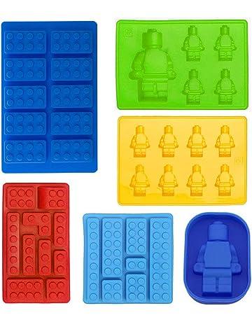 Juego de 6 moldes de silicona con forma de robot y de ladrillos de juego de
