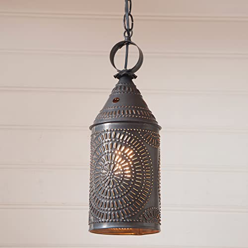 Irvin s Country Tinware 863CBT – Large Punched Tin Lantern Pendant with Blackened Tin Finish