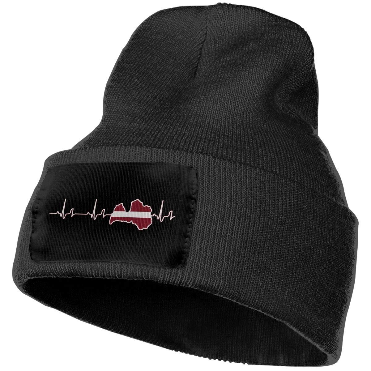 Latvia Outdoor Warm Knit Beanies Hat Soft Winter Knit Caps Men//Women Heartbeat