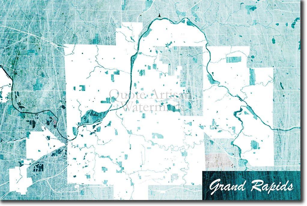 Amazon Com Introspective Chameleon Grand Rapids Michigan Usa Original Map Design Blue Stroke Art Print Poster Photo Gift Size 18 X 12 Inches 45 X 30 Cm Kitchen Dining